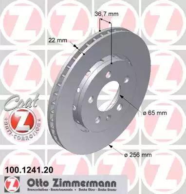 Zimmermann 100.1241.20 - Bremžu diski interparts.lv