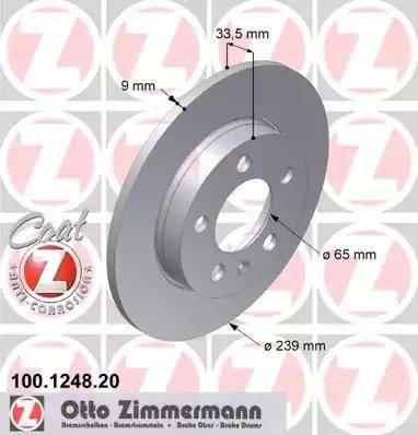 Zimmermann 100.1248.20 - Bremžu diski interparts.lv