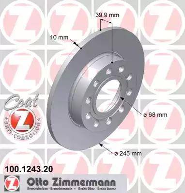 Zimmermann 100.1243.20 - Bremžu diski interparts.lv
