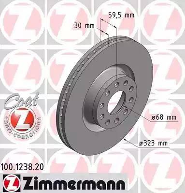 Zimmermann 100.1238.20 - Bremžu diski interparts.lv