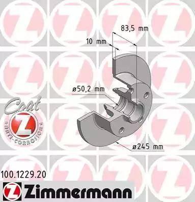 Zimmermann 100.1229.20 - Bremžu diski interparts.lv