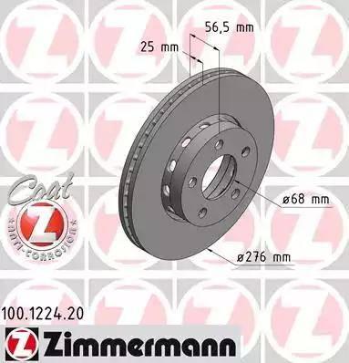Zimmermann 100.1224.20 - Bremžu diski interparts.lv