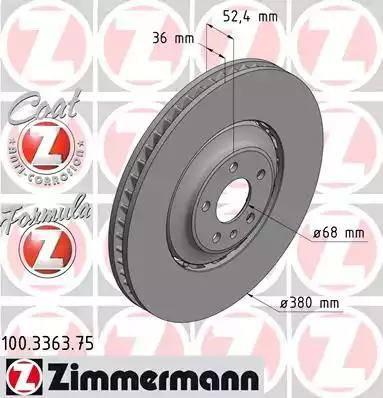Zimmermann 100.3363.75 - Bremžu diski interparts.lv