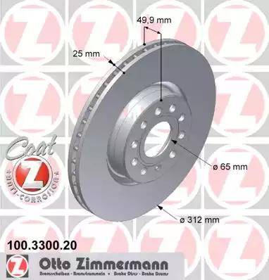 Zimmermann 100.3300.20 - Bremžu diski interparts.lv