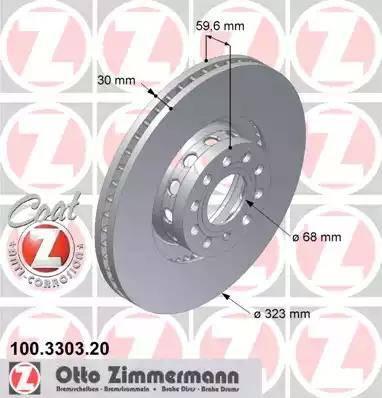 Zimmermann 100.3303.20 - Bremžu diski interparts.lv