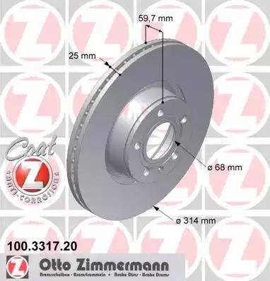 Zimmermann 100.3317.20 - Bremžu diski interparts.lv