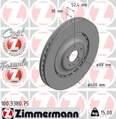 Zimmermann 100.3380.75 - Bremžu diski interparts.lv