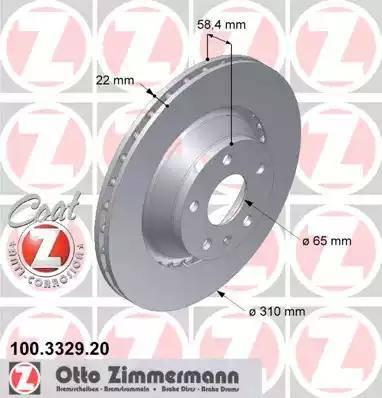 Zimmermann 100.3329.20 - Bremžu diski interparts.lv