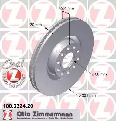 Zimmermann 100.3324.20 - Bremžu diski interparts.lv