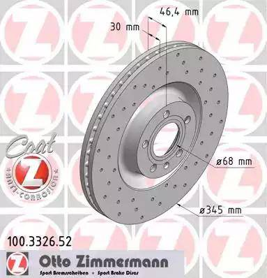 Zimmermann 100.3326.52 - Bremžu diski interparts.lv