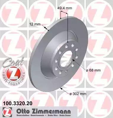 Zimmermann 100.3320.20 - Bremžu diski interparts.lv