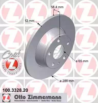 Zimmermann 100.3328.20 - Bremžu diski interparts.lv