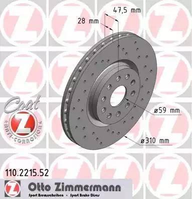 Zimmermann 110.2215.52 - Bremžu diski interparts.lv