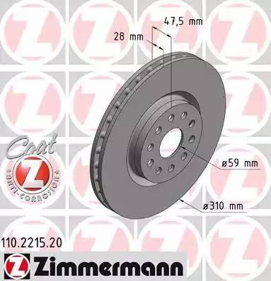 Zimmermann 110.2215.20 - Bremžu diski interparts.lv