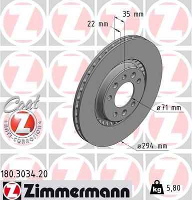 Zimmermann 180.3034.20 - Bremžu diski interparts.lv