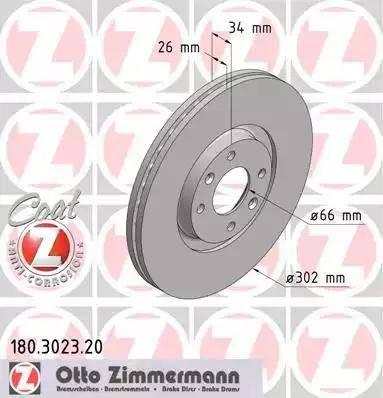 Zimmermann 180.3023.20 - Bremžu diski interparts.lv