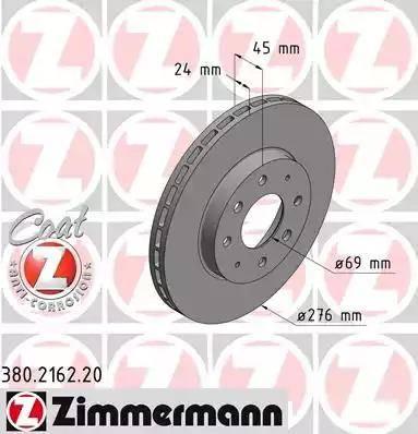 Zimmermann 380.2162.20 - Bremžu diski interparts.lv