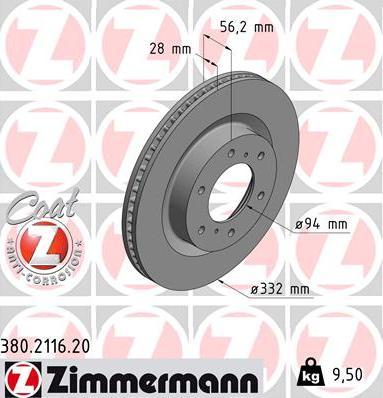 Zimmermann 380.2116.20 - Bremžu diski interparts.lv