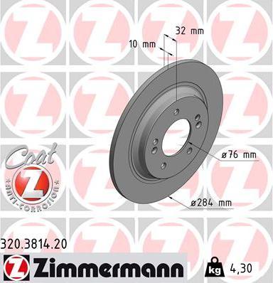 Zimmermann 320.3814.20 - Bremžu diski interparts.lv