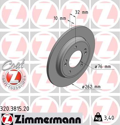 Zimmermann 320.3815.20 - Bremžu diski interparts.lv