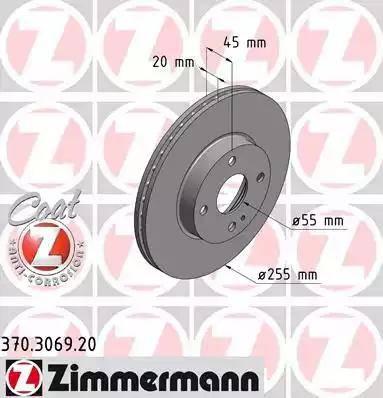 Zimmermann 370.3069.20 - Bremžu diski interparts.lv