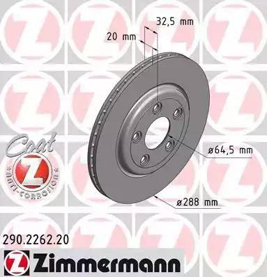 Zimmermann 290.2262.20 - Bremžu diski interparts.lv
