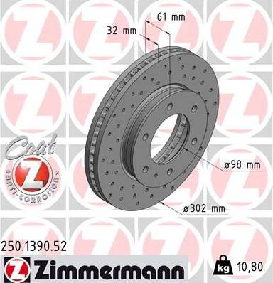 Zimmermann 250.1390.52 - Bremžu diski interparts.lv