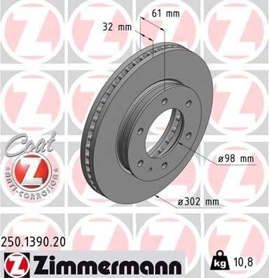 Zimmermann 250.1390.20 - Bremžu diski interparts.lv