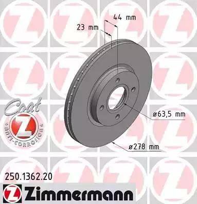 Zimmermann 250.1362.20 - Bremžu diski interparts.lv