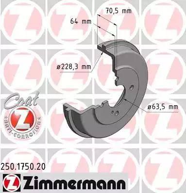 Zimmermann 250.1750.20 - Bremžu trumulis interparts.lv