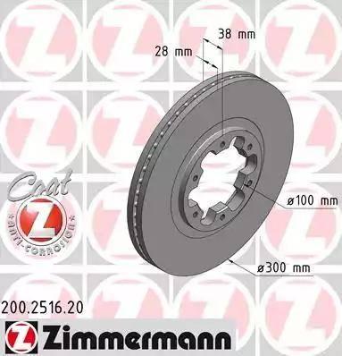 Zimmermann 200.2516.20 - Bremžu diski interparts.lv