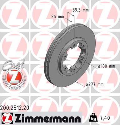 Zimmermann 200.2512.20 - Bremžu diski interparts.lv