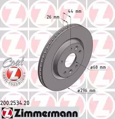 Zimmermann 200.2534.20 - Bremžu diski interparts.lv