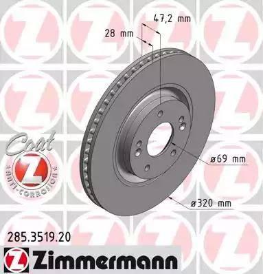 Zimmermann 285.3519.20 - Bremžu diski interparts.lv