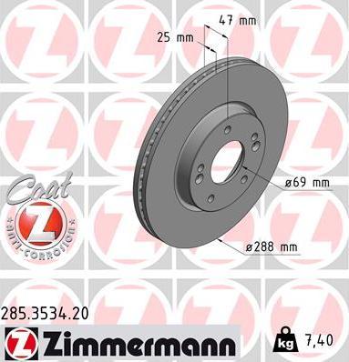 Zimmermann 285.3534.20 - Bremžu diski interparts.lv