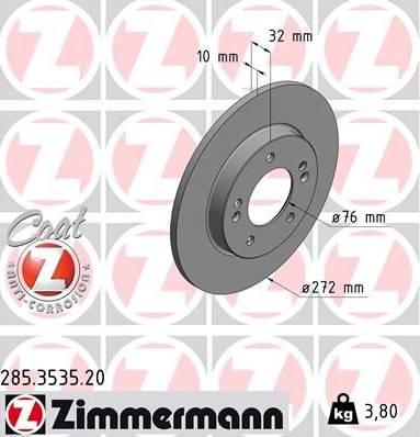 Zimmermann 285.3535.20 - Bremžu diski interparts.lv