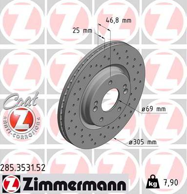 Zimmermann 285.3531.52 - Bremžu diski interparts.lv