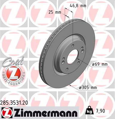 Zimmermann 285.3531.20 - Bremžu diski interparts.lv
