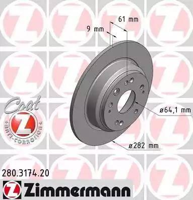 Zimmermann 280.3174.20 - Bremžu diski interparts.lv