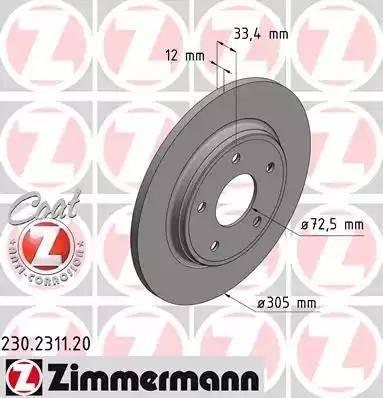 Zimmermann 230.2311.20 - Bremžu diski interparts.lv