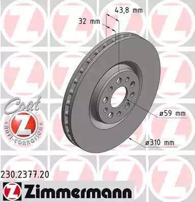 Zimmermann 230.2377.20 - Bremžu diski interparts.lv